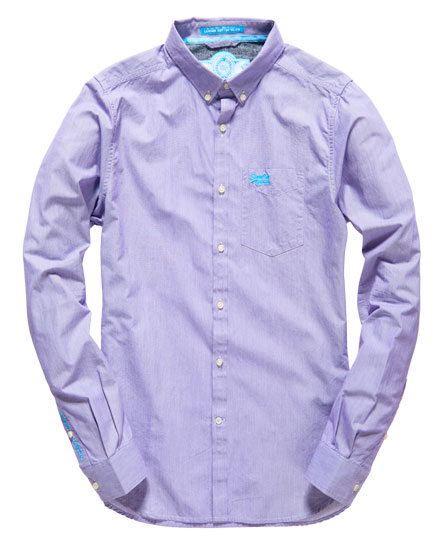 Mens - London Button Down Shirt in Pin Drop Stripe Purple | Superdry