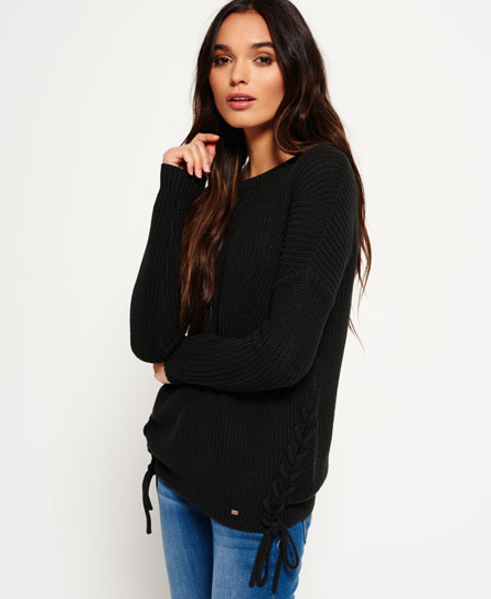washed black Superdry Arizona Lace Up Rib Knit Jumper