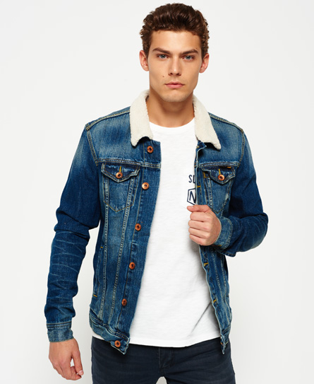 Mens Stormbreaker Denim Jacket In Beaten Blue Superdry