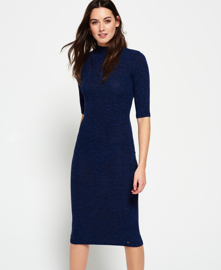 Superdry Freja Collar Midikleid Marineblau