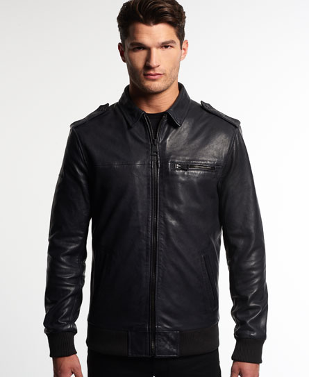 Superdry Leading Flight Bomber Leather Jacket - Mens Idris Jackets