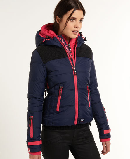 womens polar elements jacket in navy fuchsia superdry. Black Bedroom Furniture Sets. Home Design Ideas