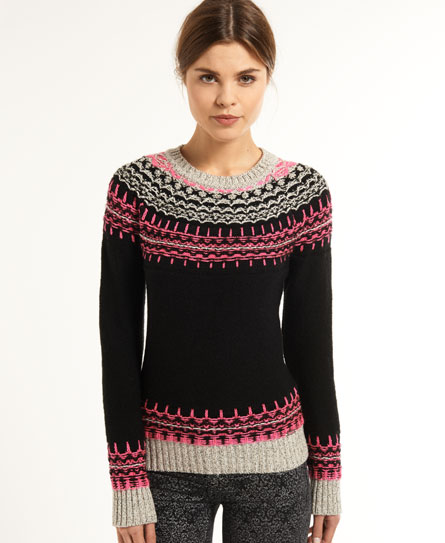 Superdry Peak Fluro Fairisle Crew - Women's Sweaters