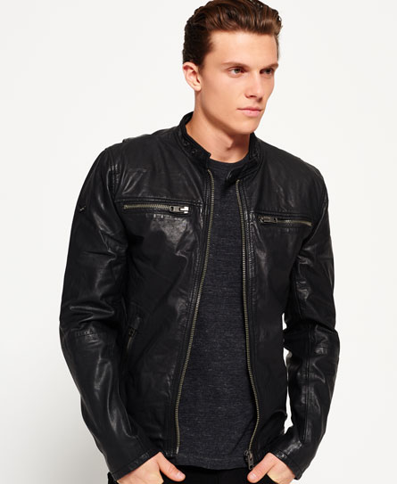 Mens Real Hero Leather Biker Jacket In Black Superdry