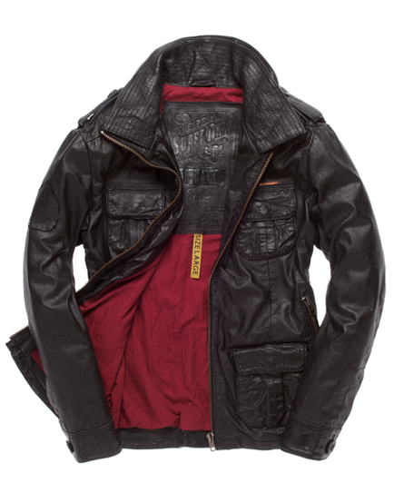 Superdry Brad Leather Jacket Black