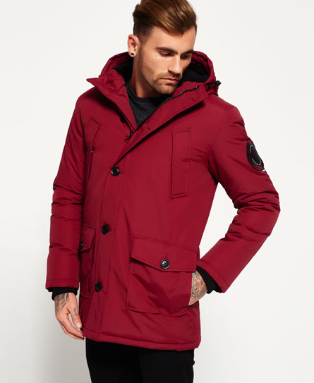 Mens - Everest Parka Jacket in Wine Red | Superdry
