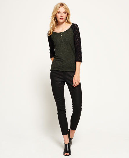 khaki twist Superdry Slub Twist Jersey Lace Grandad-Shirt