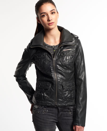 Superdry leather jacket women