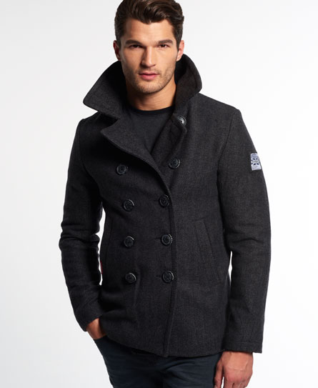 Mens - Rookie Pea Coat in Grey Herringbone | Superdry