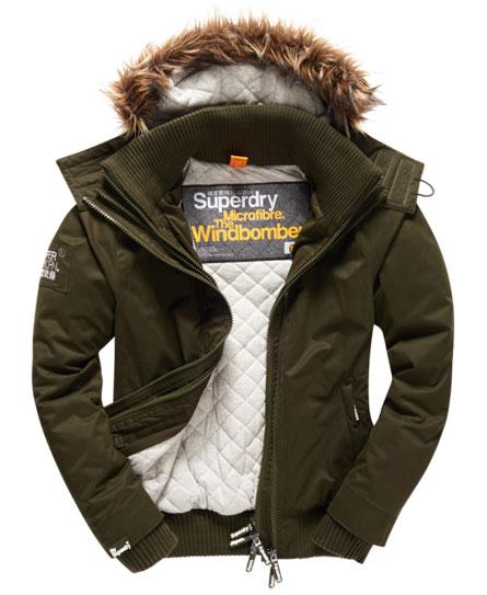 Superdry Microfibre Fur Hooded Windbomber Jacket