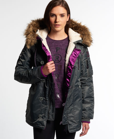 Womens - SD-3 Parka Coat in Grey | Superdry