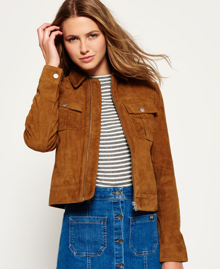 Womens - Suede Billie Bomber Jacket in Tan | Superdry