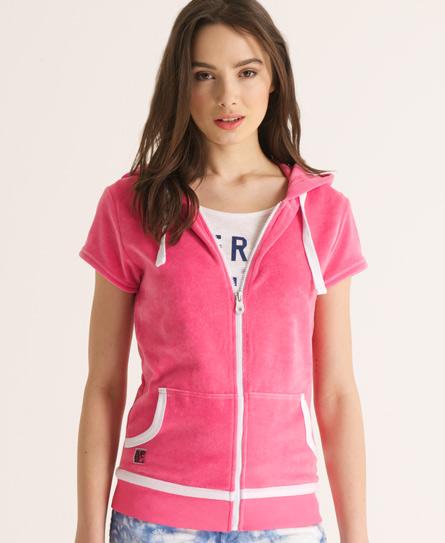 Superdry Ventura velvet Hoodie Pink
