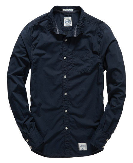 mens vintage laundered shirt in eclipse navy superdry. Black Bedroom Furniture Sets. Home Design Ideas