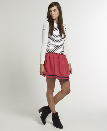 Superdry Preppy Circle Skirt Red
