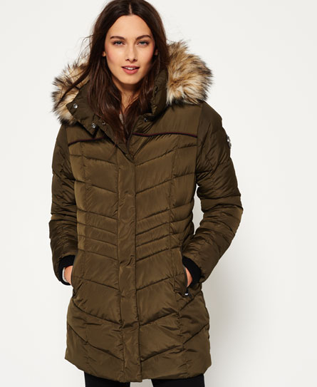 Womens - Glacier Parka Jacket in Khaki | Superdry