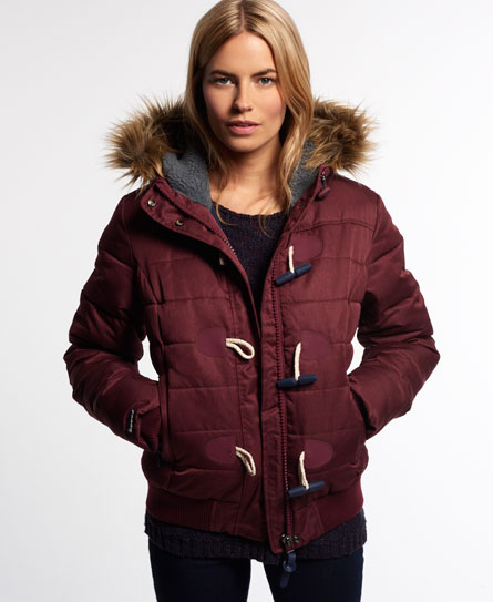 Superdry Marl Toggle Puffer Jacket Red