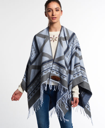 Superdry Kaya Blanket Cape Grey