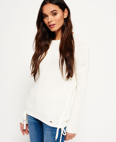cream Superdry Arizona Lace Up Rib Knit Jumper