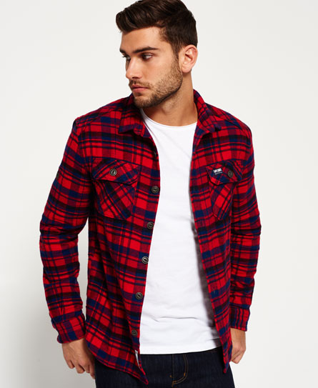 ontario navy check Superdry Milled Flannel Hemd