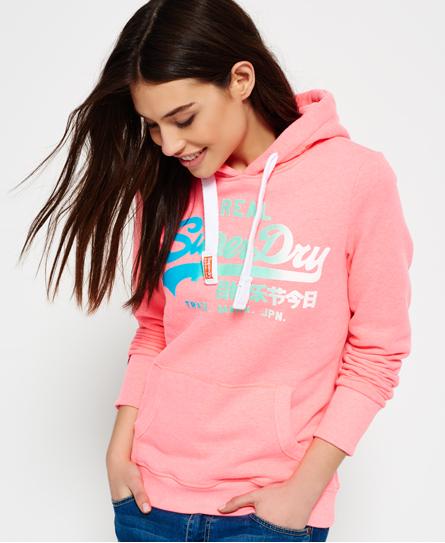 neon pink marl Superdry Vintage Logo Fade Hoodie