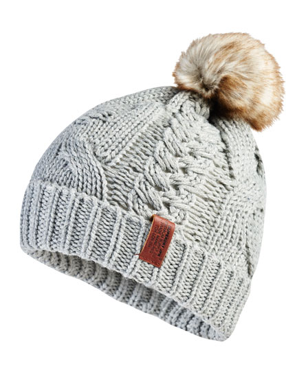 grey sparkle Superdry North Cable Beanie