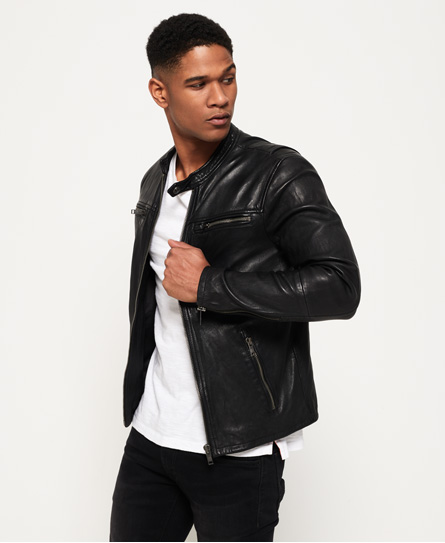 Superdry Real Hero Leather Biker Jacket