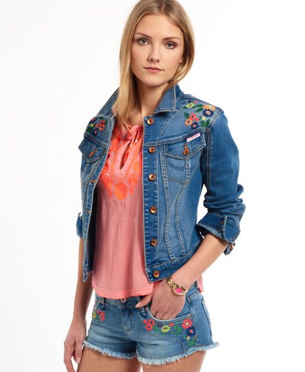 Womens embroidered denim jacket in surf blue multi
