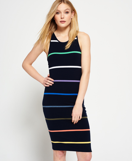 black rainbow stripe Superdry Core Midi Stripe Kleid