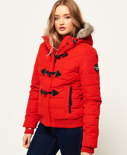 avant red Superdry Microfibre Toggle Puffle Jacket