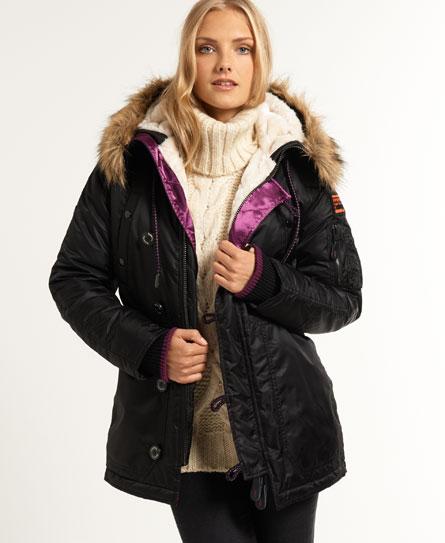 Womens - SD-3 Parka Coat in Black/purple   Superdry