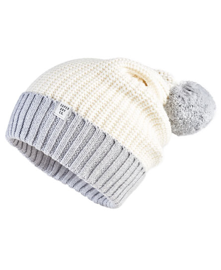 cream/icy grey Superdry Colour Block Beanie