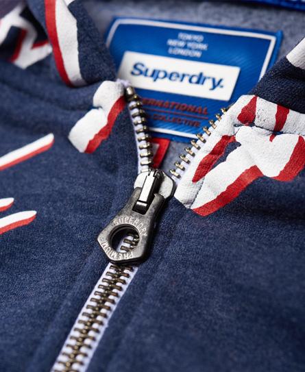 Superdry Crew hættetrøje med lynlås og gennemgående print