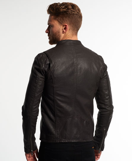 Superdry Real Hero Leather Biker Jacket