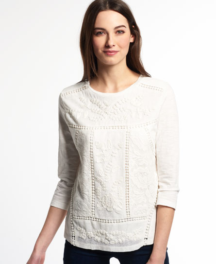 Superdry Folk Patch Top White