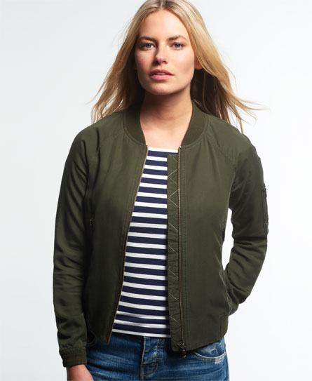Womens - Lillie Bomber Jacket in Khaki | Superdry