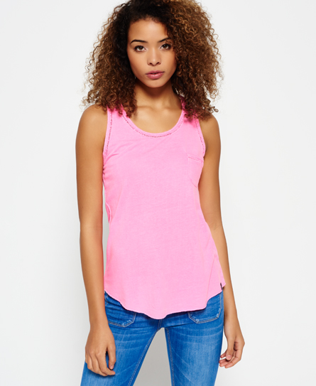 raspberry sorbet neon Superdry Ladder Lace Trim Tank Top