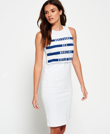 Superdry Mariner Stripe Midi Dress Light Grey