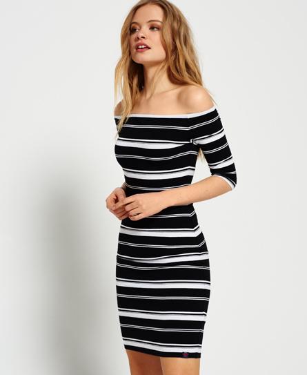 black/optic stripe Superdry Breton Bardot Stripe Dress
