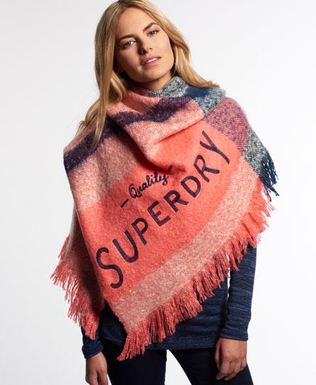 Superdry mega check schal damen winter accessoires for Schal binden damen