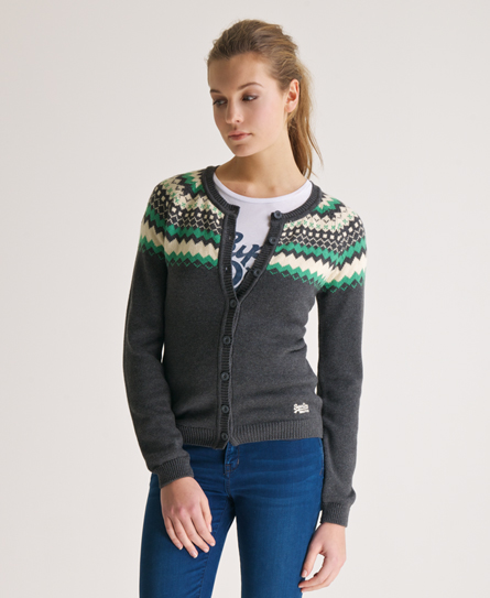 Womens - Cotton Fairisle Cardigan in Charcoal | Superdry