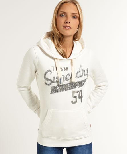 womens sequin comets hoodie in vintage white superdry. Black Bedroom Furniture Sets. Home Design Ideas