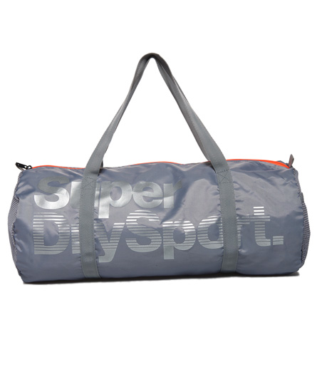 銀灰色/螢光珊瑚紅 Superdry極度乾燥 Super Sport Gym 圓筒包