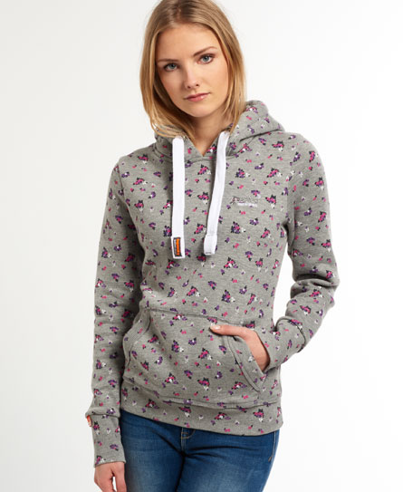 Womens - All Over Print Hoodie in Grey Marl Floral | Superdry