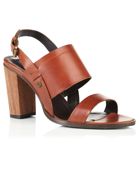 dark tan Superdry Blake Wooden Heel Sandals