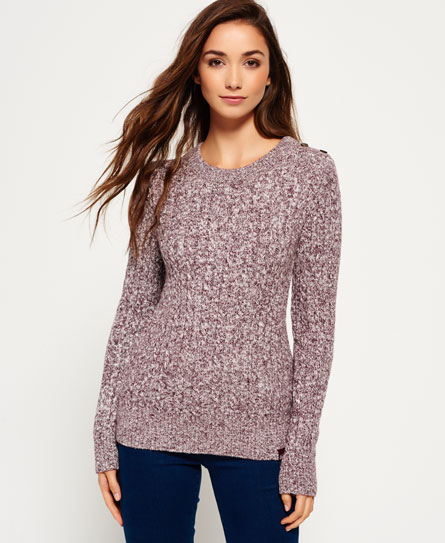 damson twist Superdry Croyde Twist Cable Crew Jumper