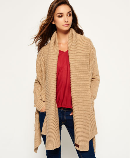 Superdry Haden Cable Waterfall Cardigan - Women's Sweaters