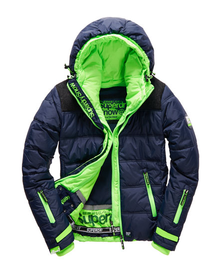 mens elements ski jacket in navy fluro lime superdry. Black Bedroom Furniture Sets. Home Design Ideas