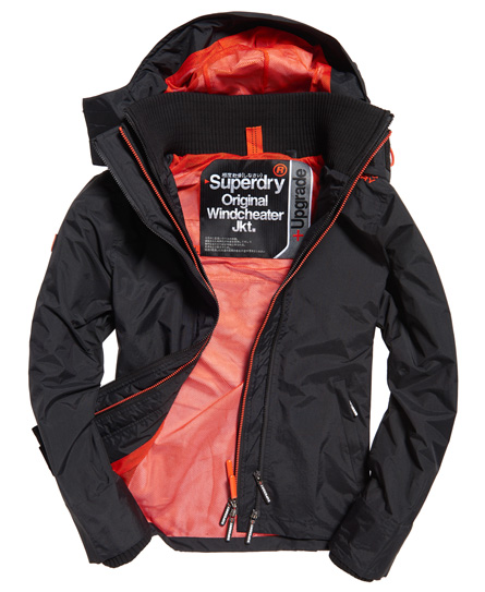 black/vermillion Superdry Technical Hooded Pop Zip SD-Windcheater