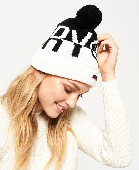 noir/blanc Superdry Bonnet logo Snow
